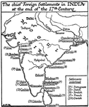 Chief Foreign Settlements in India, 17th Century